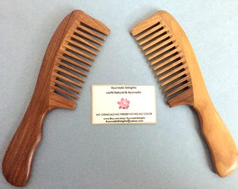 """Handcrafted Natural Green Sandalwood 7"""" Wide spaced Toothed Wood Hair COMB - Anti Static ,Anti-Dandruff, Healthy scalp & Hair"""