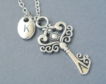 Key Necklace, Skeleton Key Jewelry,Silver Key Necklace,Initial Necklace, Personalized, Key Pendant Necklace