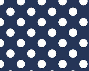 Riley Blake Fabric Navy Medium Dots Polka Dots