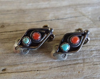 Vintage Native American Sterling Silver Turquoise Coral Earrings - Natural Stone Clip-On Earrings, 1960's Bohemian Retro GypsyJewelry