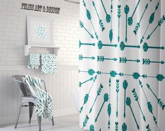 Arrow Bathroom Decor, Arrow Decor, Tribal Shower Curtain, Tribal Towels, Aqua Green Bathroom Decor, Arrow Mat, Bath Decor, Bathroom Sets
