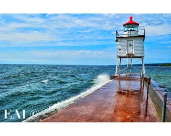 Two Harbors Lighthouse/Lake Superior/Duluth/waves crashing/north shore/great lakes/pier/wall art/lighthouse/nature photography/Minnesota