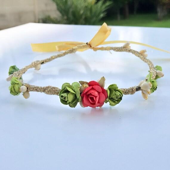 Birthday Crown, Flowers Crown, Gold Crown, Green Crown, Bridesmaid Crown, Flowers Girls, Woodland Halo, Infant Headband, Flowers Girls