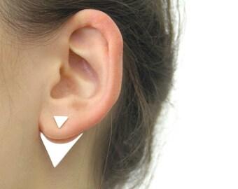 Silver Triangle Earrings, Triangle Ear Jackets, Sterling Silver, Silver Earrings, Ear Jackets, Earrings, Triangle, Edgy Earrings, 925 Silver