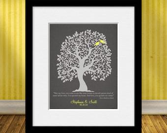 Personalized Wedding Gift, Wedding Tree Art Print, Anniversary Gift, Bride's Gift, Groom's Gift, Customized Family Tree Gift
