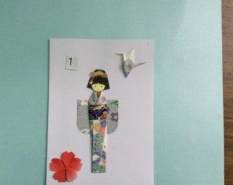 Handmade Origami Kimono Crane Flower Card