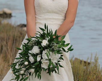 """Wedding bouquet """"Vienna""""for bride in greenery style  Preserved natural flowers Bridal bouquet with white English roses Woodland bouquet"""