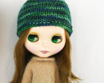 Blythe Nymphadora Hat knitting PATTERN - cute skull cap doll hat toque stocking cap - instant download - permission to sell finished objects