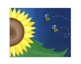 Sunflower and Bees Colorful Print - Cute Whimsical Flower Artwork
