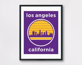 Los Angeles California Travel Poster - Los Angeles Skyline Poster