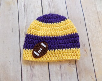Football Beanie, Baby Football Hat, Purple and Yellow Knit Baby Hat