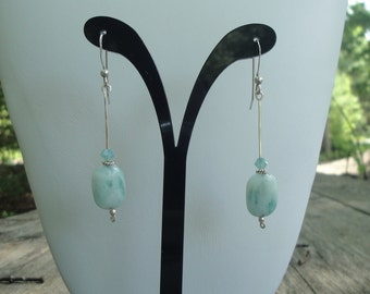 Aquamarine, Swarovski Crystal & Sterling Silver Earrings