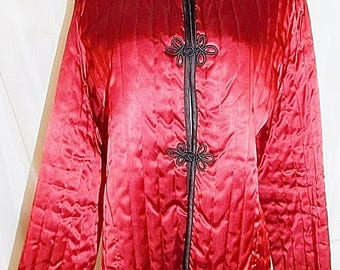Jon Woods NY Jacket Asian Oriental Quilted Coat Frog Closures Cranberry Red Vintage