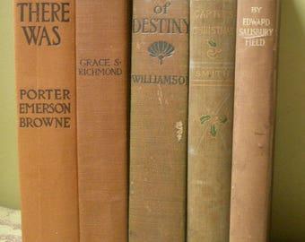 Sale, Set of 5, Edwardian Books, Antique Brown Book Bundle Set, Wedding Decor Movie Prop, Early 1900s Bundled Tan Books, Five Book Stack Lot