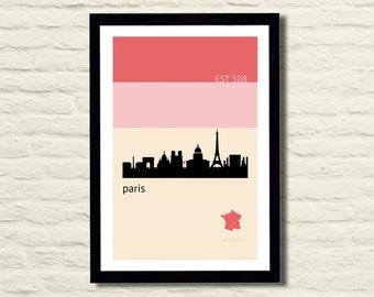 Paris Poster Art Print 11 X 17 City Skyline, Minimalist, Pink