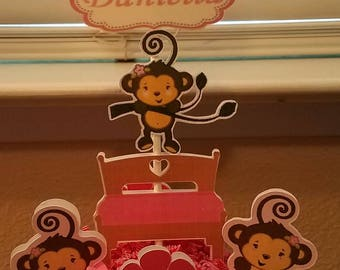 Set of 4 Monkeys Jumping on the Bed Double Sided Centerpieces