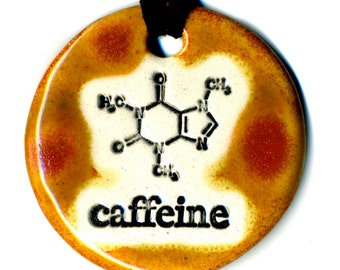 Caffeine Molecule Ceramic Necklace in Reddish Brown