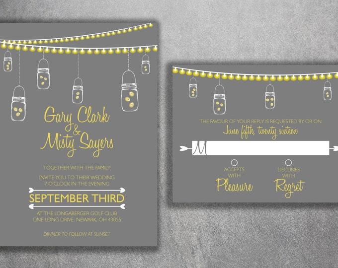Mason Jar Wedding Invitations Set, Country Wedding Invitations, Rustic Wedding Invitation, Lights, Southern, Fireflies, Gray & Yellow, Night