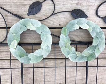 "Set of Two 8"" Farmhouse Year Round Wreath , Farmhouse Wreath, Lambs Ear , Wreath , Mini Wreath , Spring Wreath , Summer Wreath , Shabby Chic"