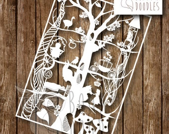 Fairytale paper cutting template Personal Use