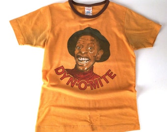 """Vintage 70s Yellow Ringer Tee Shirt, Dynomite Jimmie Walker, Good Times, Youth Size, Chest 32"""", 1970s Sitcom Decor, Soul Train Party Costume"""