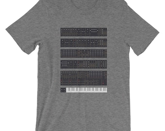 Moog Modular T-Shirt Unisex Synth Vintage Graphic Geek Music Retro Keyboard Musical Instrument Musician Mid Century