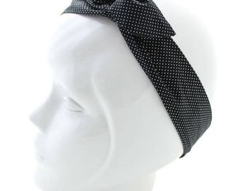 Twisted black wire with white polka dots