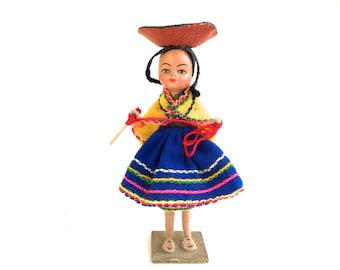 Sweet Vintage Southwestern Doll~ Lovely 1940's Mexican woman in colorful skirt & Hat~ Textile doll