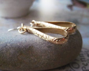 Hoop Earrings, 14k Gold Filled, Skinny Hoops, Floral Bar, Gold Pattern, Mixed Metals, Sterling Silver, candies64