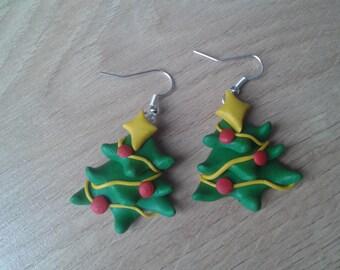 Christmas tree earrings  handmade fimo earrings, polymer clay