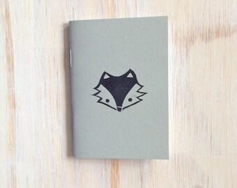Pequeño cuaderno: Fox, para él, para ella, gris, regalo, zorro de cara Simple, los niños, Jotter, diario Mini, pequeño cuaderno, estampado, exclusivo, O1