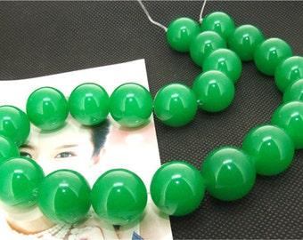 "18mm Large green jade strand , round bead Loose One strand , loose green jade bead, gemstone strand 15"""