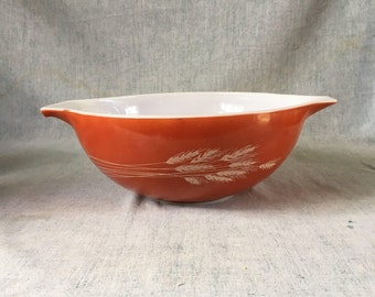 "Vintage Pyrex Autumn Harvest 13"" Cinderella Mixing Bowl, Wheat Pattern"