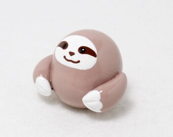 Chubby Sloth Totem - Polymer Clay Totem Animal - Sloth Figurine - Sloth Miniature - Three Toed Sloth Sculpture - Spirit Animal