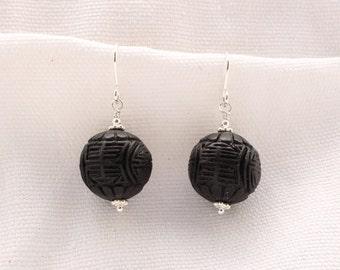 Black Cinnabar Earrings