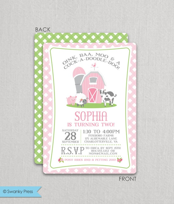 Pink Farm Birthday Invitation For A Girl Farm Party Invite