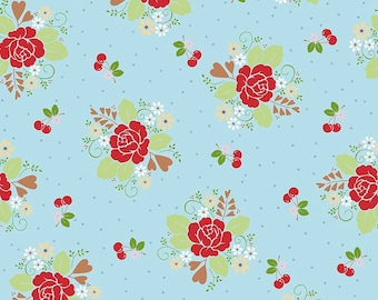 Sale - Sew Cherry 2, Riley Blake Fabric, Lori Holt, C5800 Main Aqua, Bee in My Bonnet, Red Floral & Cherries Quilt Fabric, Cotton