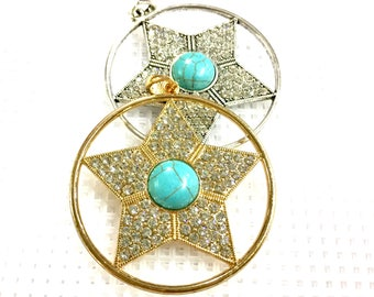 Large round pendant / Diamond star pendant_5.5cm diameter_to choose between gold and silver