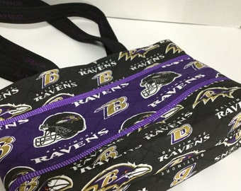 Ravens Quilted Purse - Quilted Tote - Market Bag -  Baltimore Ravens - NFL Tote - NHL Tote - Baltimore Ravens Purse