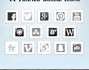 White Framed Social Icons