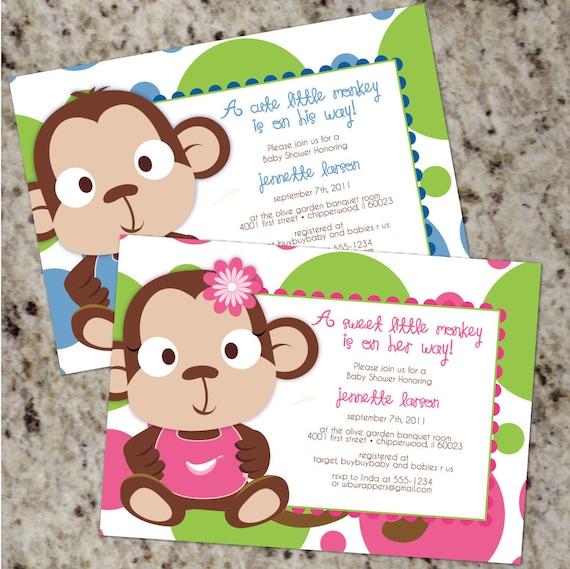 Monkey baby shower invitations boy baby shower invitations like this item filmwisefo Image collections