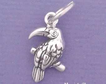 TOUCAN Charm .925 Sterling Silver Bird MINIATURE Small - elp524