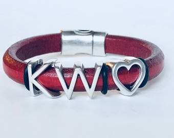 Keller Williams KW Red & Black One Thing Leather Bracelet With Heart