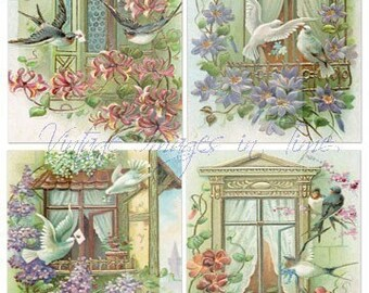 Digital Collage Sheets - Vintage Beautiful Florals with Birds