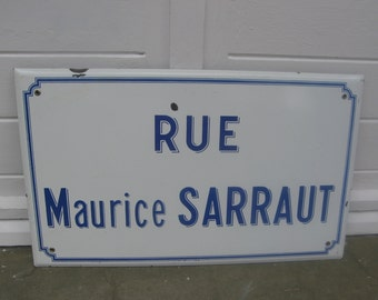 Vintage French Road Street Sign White and Blue Enamel Rue Maurice Sarraut