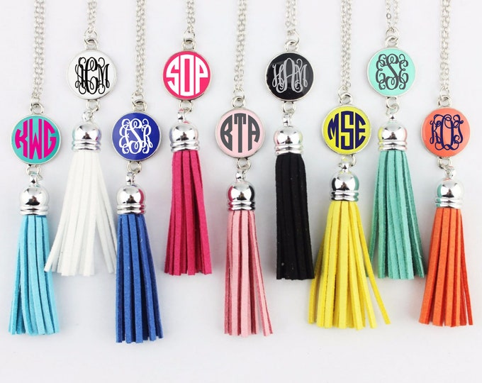 Monogrammed Long Pendant Tassel Necklace