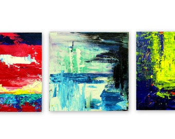 abstract painting blue green red yellow white black