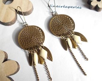 Earrings bronze sequin pendant ivory