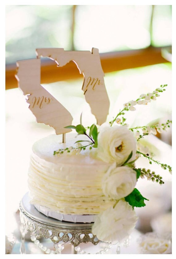 Mr and Mrs State Cake Toppers Wedding Cake Topper Rustic Wedding