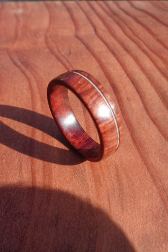 Wooden Inlay RingRedwood Burl Ring with guitar string